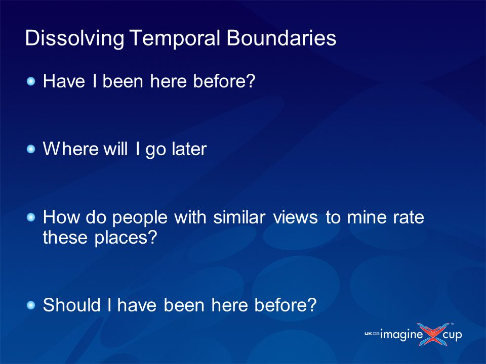 Dissolving Temporal Boundaries Have I been here before? Where will I go later How do people with similar views to mine rate these places? Should I hav