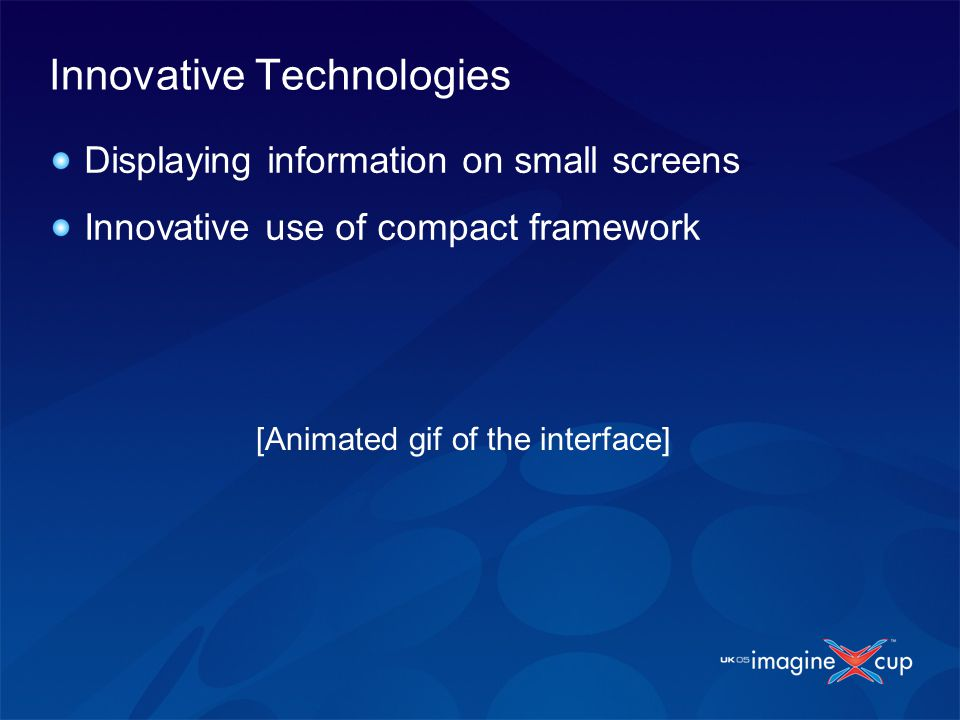 Innovative Technologies Displaying information on small screens Innovative use of compact framework [Animated gif of the interface]