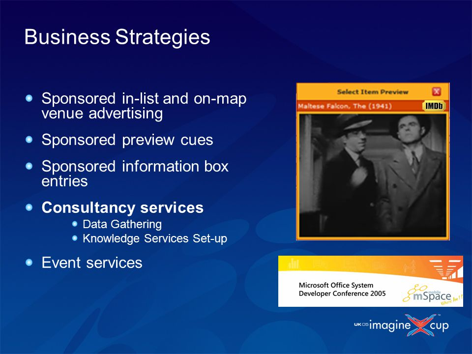 Business Strategies Sponsored in-list and on-map venue advertising Sponsored preview cues Sponsored information box entries Consultancy services Data Gathering Knowledge Services Set-up Event services