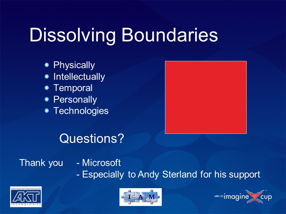 Questions? Dissolving Boundaries Physically Intellectually Temporal Personally Technologies Thank you - Microsoft - Especially to Andy Sterland for hi
