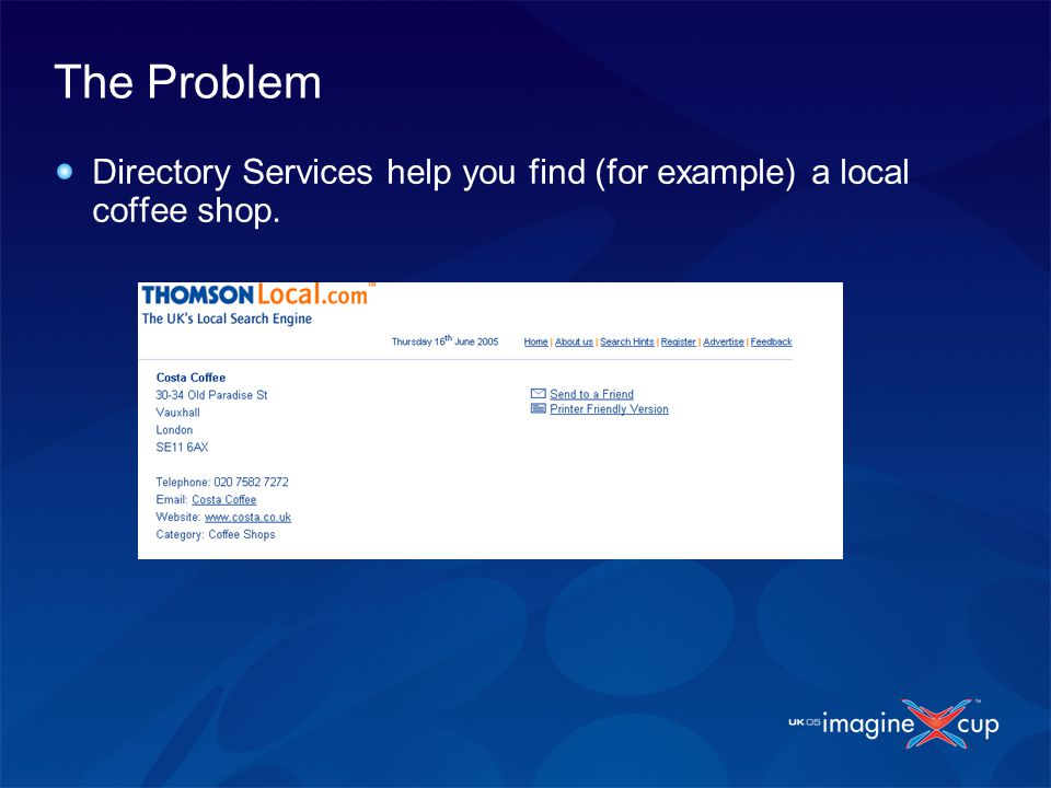 The Problem Directory Services help you find (for example) a local coffee shop.