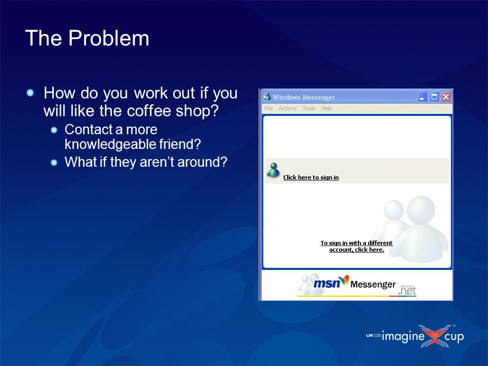 The Problem How do you work out if you will like the coffee shop.
