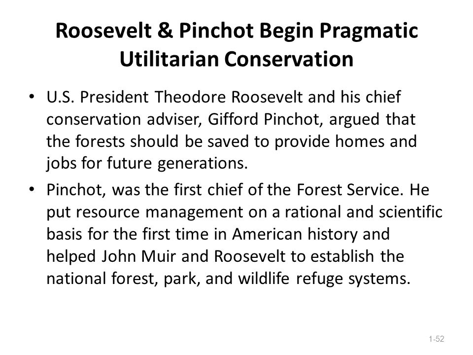 Roosevelt & Pinchot Begin Pragmatic Utilitarian Conservation U.S. President Theodore Roosevelt and his chief conservation adviser, Gifford Pinchot, ar