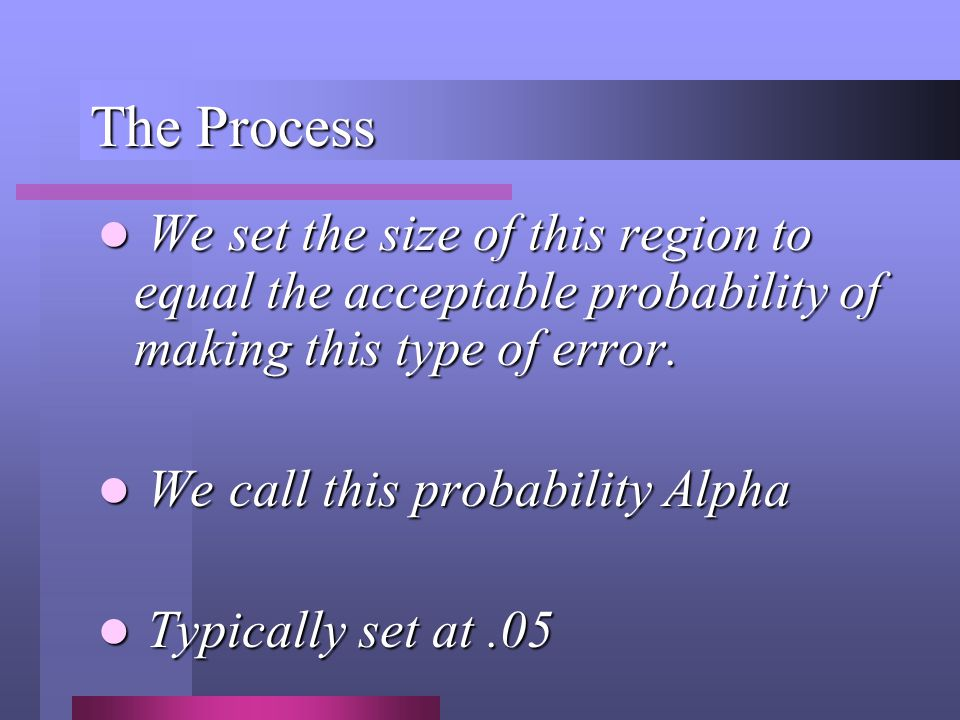 The Process We set the size of this region to equal the acceptable probability of making this type of error. We set the size of this region to equal t
