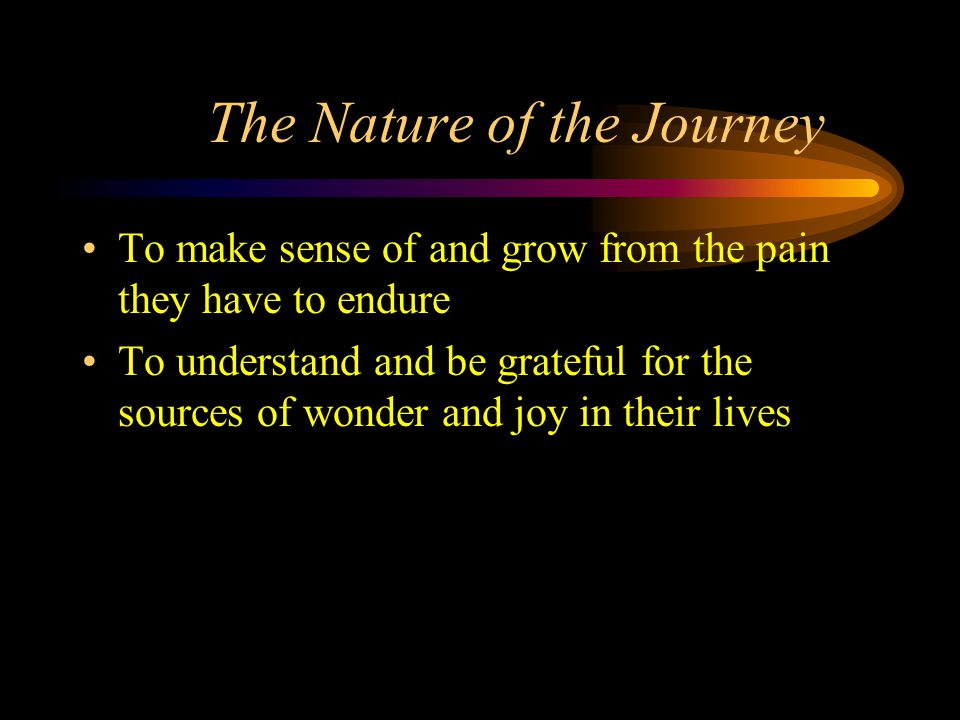 The Nature of the Journey To make sense of and grow from the pain they have to endure To understand and be grateful for the sources of wonder and joy