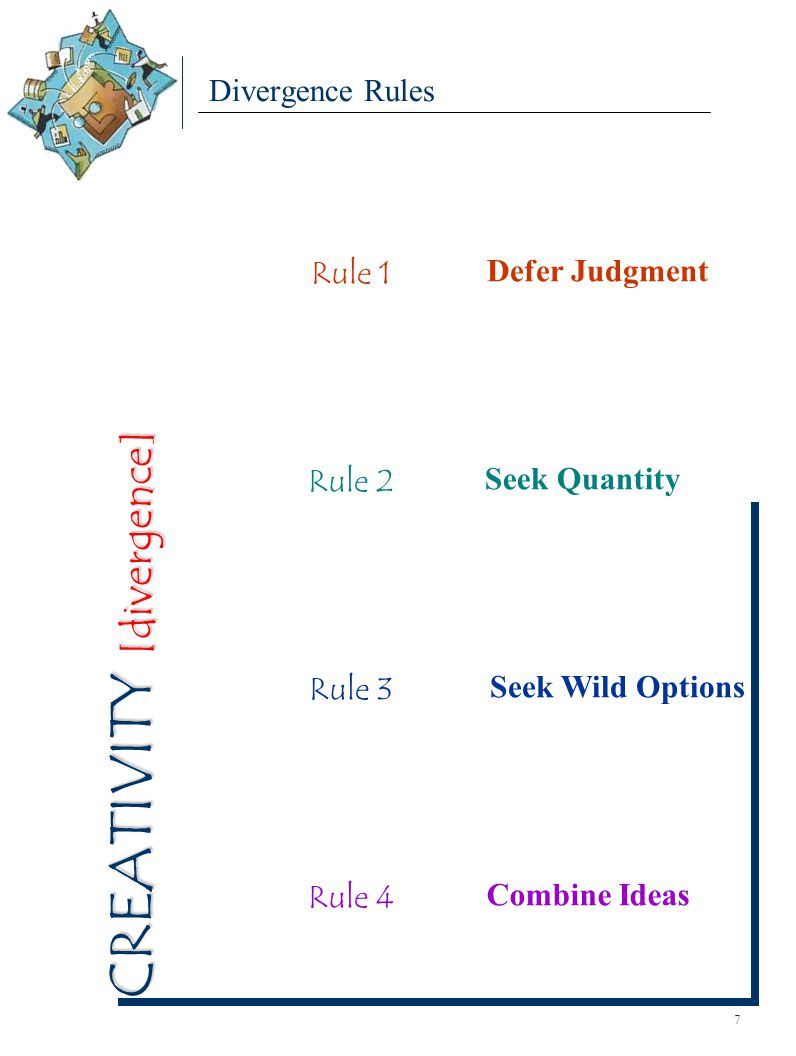 Divergence Rules Rule 1 Defer Judgment Rule 3 Seek Wild Options Rule 2 Seek Quantity Rule 4 Combine Ideas 7 CREATIVITY [divergence]