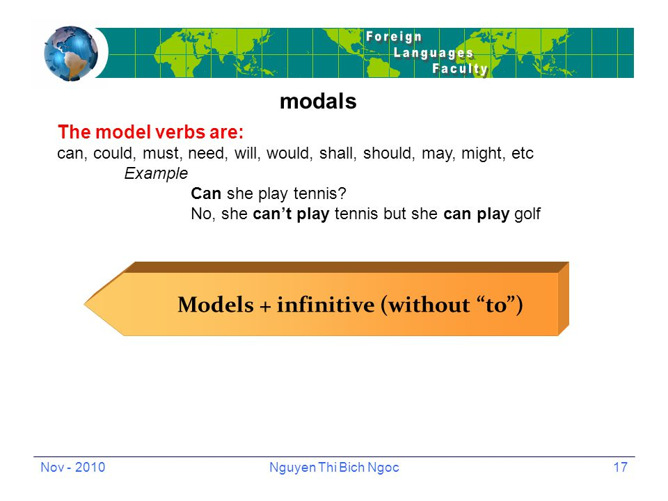 Nov - 2010Nguyen Thi Bich Ngoc17 modals The model verbs are: can, could, must, need, will, would, shall, should, may, might, etc Example Can she play