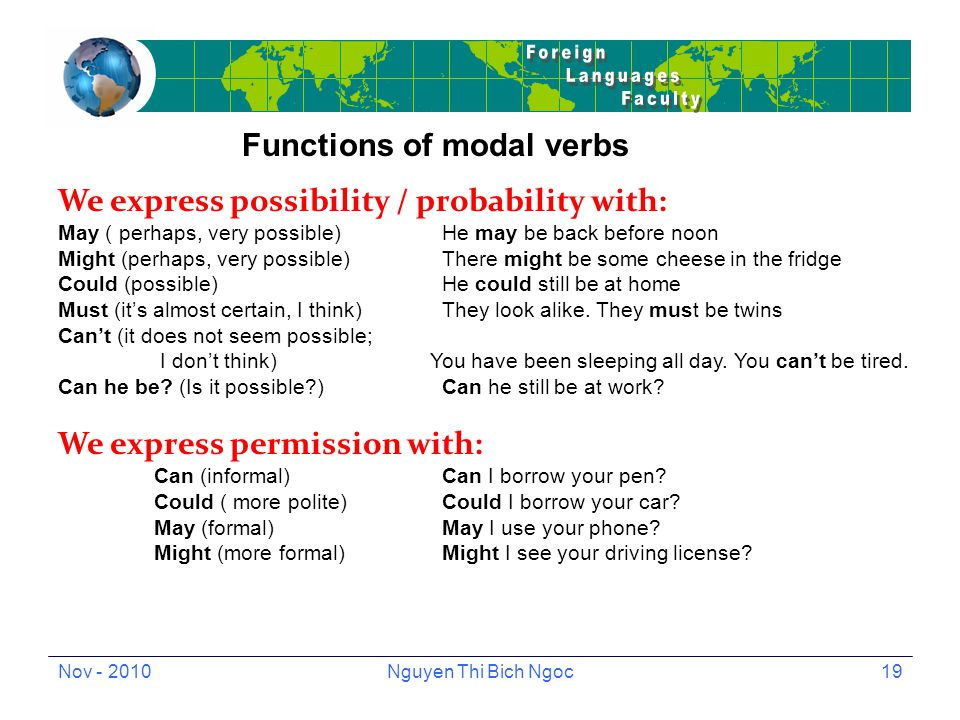 Nov - 2010Nguyen Thi Bich Ngoc19 Functions of modal verbs We express possibility / probability with: May ( perhaps, very possible)He may be back before noon Might (perhaps, very possible)There might be some cheese in the fridge Could (possible)He could still be at home Must (it's almost certain, I think)They look alike.