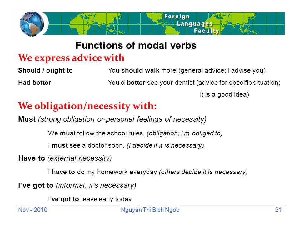 Nov - 2010Nguyen Thi Bich Ngoc21 Functions of modal verbs We express advice with Should / ought toYou should walk more (general advice; I advise you) Had betterYou'd better see your dentist (advice for specific situation; it is a good idea) We obligation/necessity with: Must (strong obligation or personal feelings of necessity) We must follow the school rules.