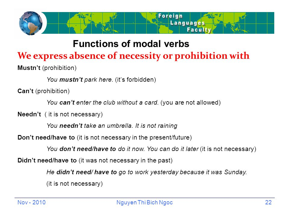 Nov - 2010Nguyen Thi Bich Ngoc22 Functions of modal verbs We express absence of necessity or prohibition with Mustn't (prohibition) You mustn't park here.