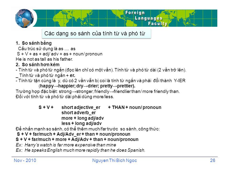 Nov - 2010Nguyen Thi Bich Ngoc26 1. So sánh bằng Cấu trúc sử dụng là as....