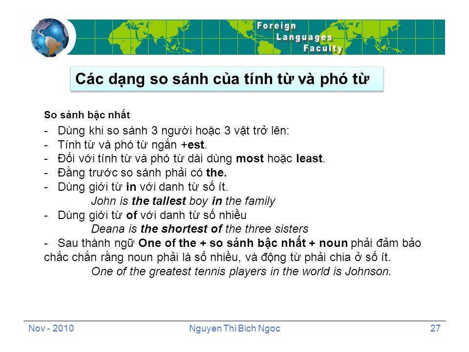 Nov - 2010Nguyen Thi Bich Ngoc27 So sánh bậc nhất - Dùng khi so sánh 3 người hoặc 3 vật trở lên: - Tính từ và phó từ ngắn +est.