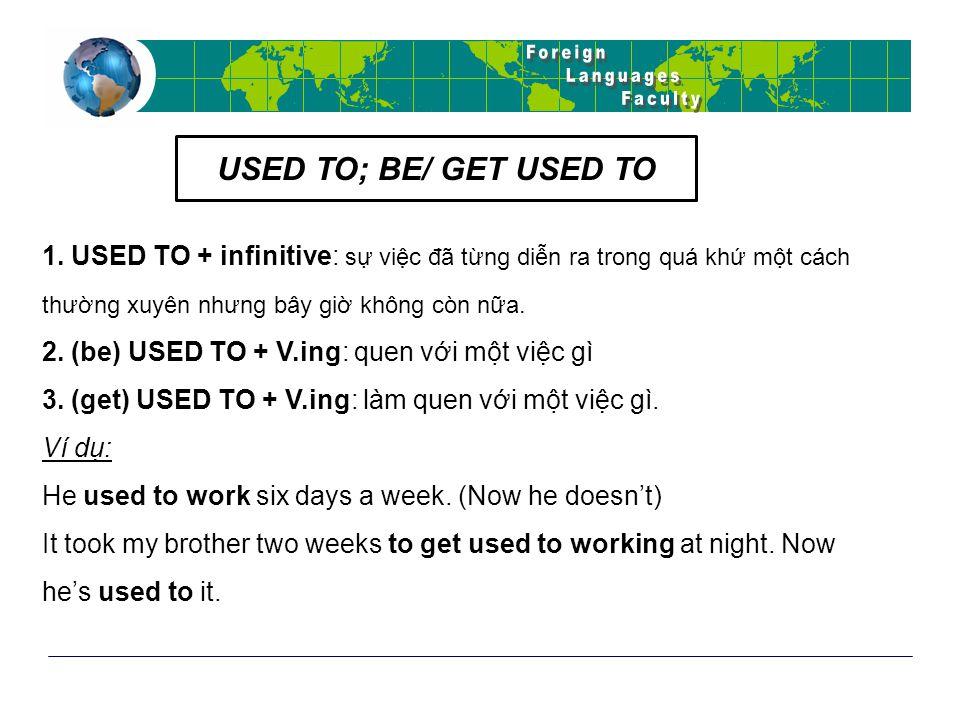 1. USED TO + infinitive: sự việc đã từng diễn ra trong quá khứ một cách thường xuyên nhưng bây giờ không còn nữa. 2. (be) USED TO + V.ing: quen với mộ