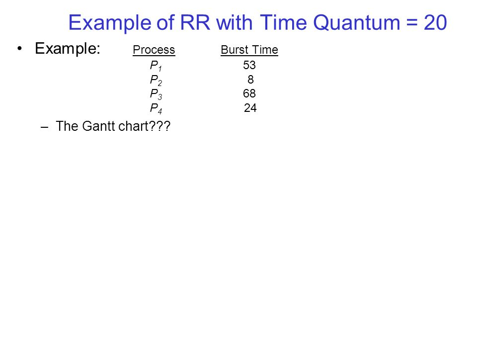 Example of RR with Time Quantum = 20 Example: ProcessBurst Time P 1 53 P 2 8 P 3 68 P 4 24 –The Gantt chart???