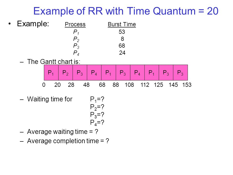 Example of RR with Time Quantum = 20 Example: ProcessBurst Time P 1 53 P 2 8 P 3 68 P 4 24 –The Gantt chart is: –Waiting time for P 1 =.