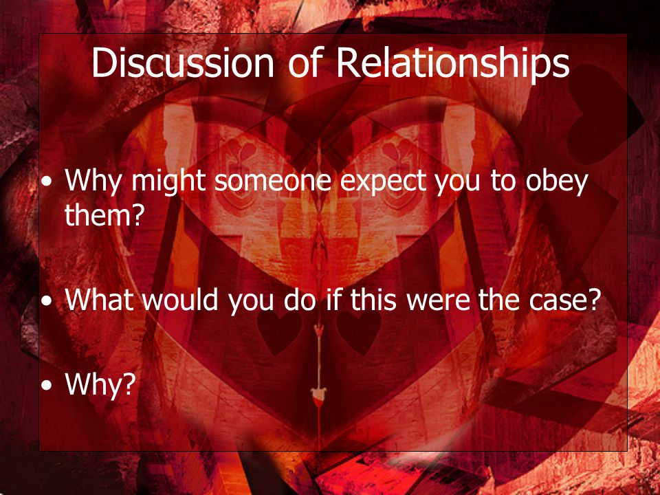 Discussion of Relationships Why might someone expect you to obey them.