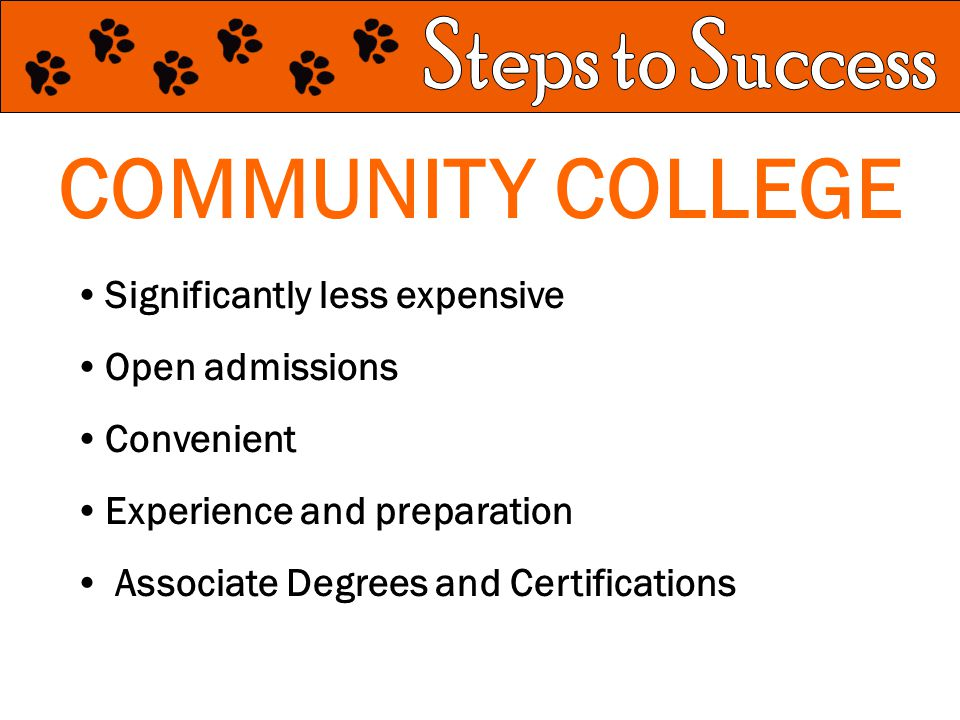 COMMUNITY COLLEGE Significantly less expensive Open admissions Convenient Experience and preparation Associate Degrees and Certifications