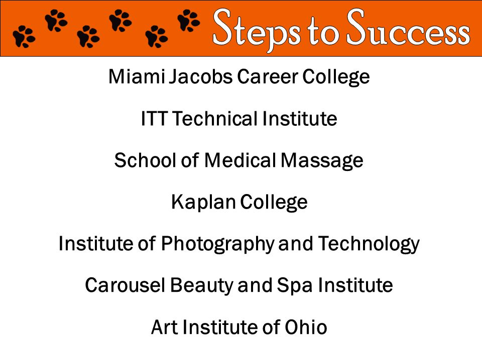 Miami Jacobs Career College ITT Technical Institute School of Medical Massage Kaplan College Institute of Photography and Technology Carousel Beauty and Spa Institute Art Institute of Ohio