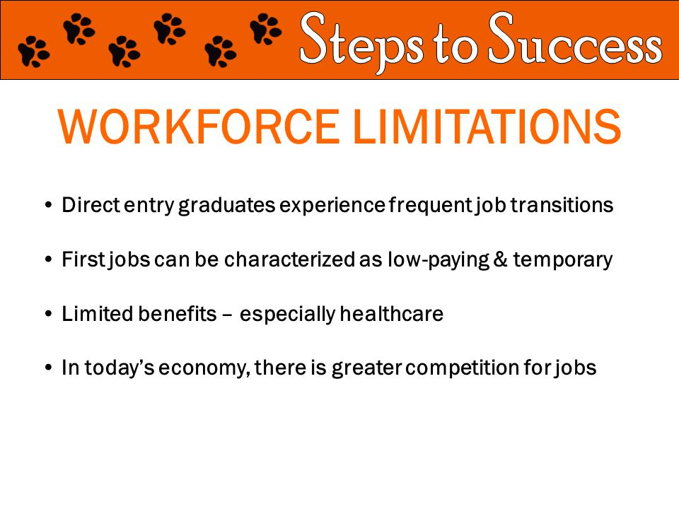 WORKFORCE LIMITATIONS Direct entry graduates experience frequent job transitions First jobs can be characterized as low-paying & temporary Limited benefits – especially healthcare In today's economy, there is greater competition for jobs