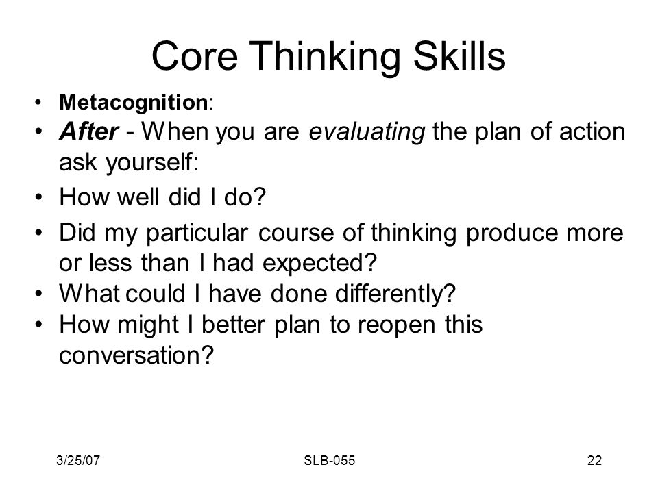 3/25/07SLB-05521 Core Thinking Skills Metacognition: During: Is the conversation heading off track to side issues.