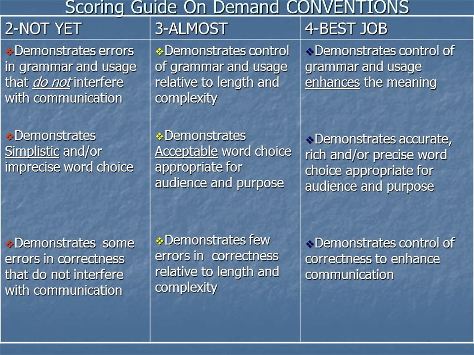 Scoring Guide On Demand CONVENTIONS 2-NOT YET 3-ALMOST 4-BEST JOB  Demonstrates errors in grammar and usage that do not interfere with communication  Demonstrates Simplistic and/or imprecise word choice  Demonstrates some errors in correctness that do not interfere with communication  Demonstrates control of grammar and usage relative to length and complexity  Demonstrates Acceptable word choice appropriate for audience and purpose  Demonstrates few errors in correctness relative to length and complexity  Demonstrates control of grammar and usage enhances the meaning  Demonstrates accurate, rich and/or precise word choice appropriate for audience and purpose  Demonstrates control of correctness to enhance communication