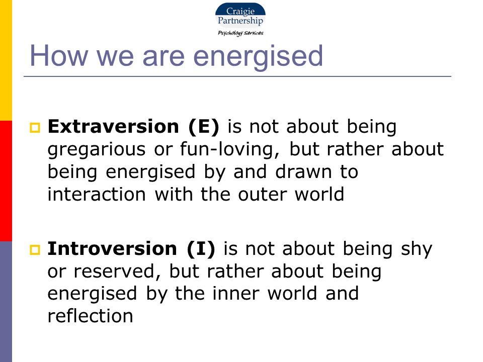 How we are energised  Extraversion (E) is not about being gregarious or fun-loving, but rather about being energised by and drawn to interaction with the outer world  Introversion (I) is not about being shy or reserved, but rather about being energised by the inner world and reflection