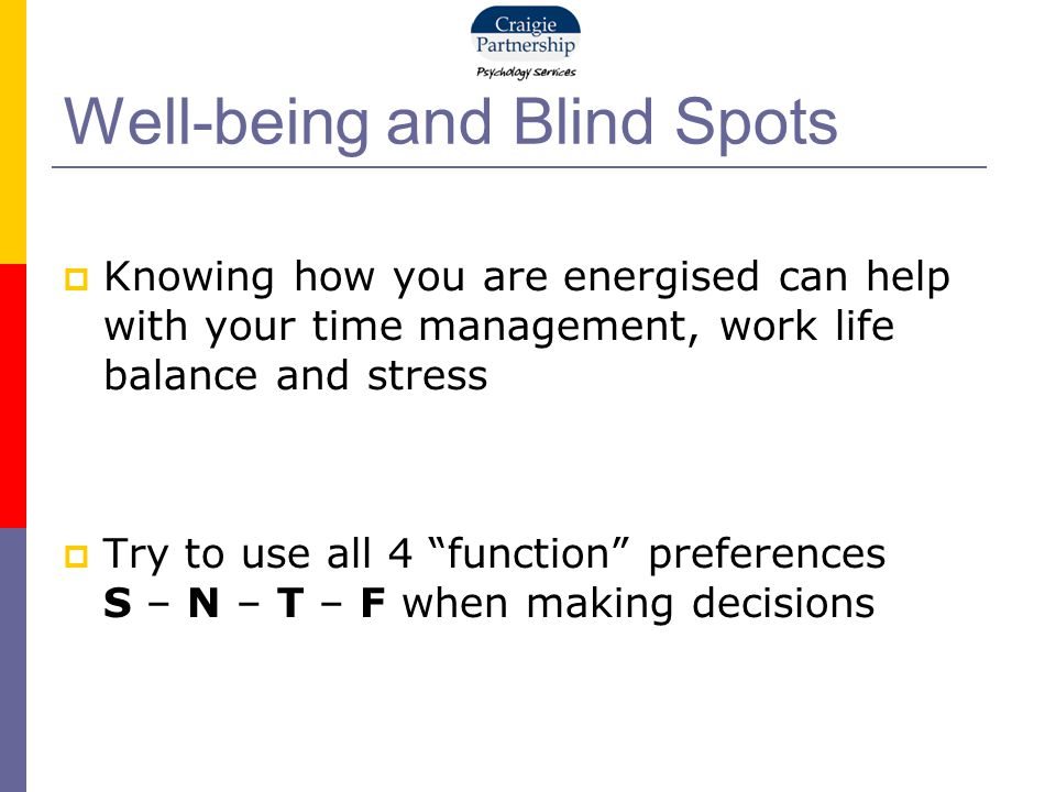 "Well-being and Blind Spots  Knowing how you are energised can help with your time management, work life balance and stress  Try to use all 4 ""functi"