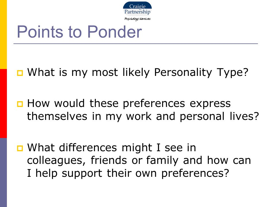 Points to Ponder  What is my most likely Personality Type.