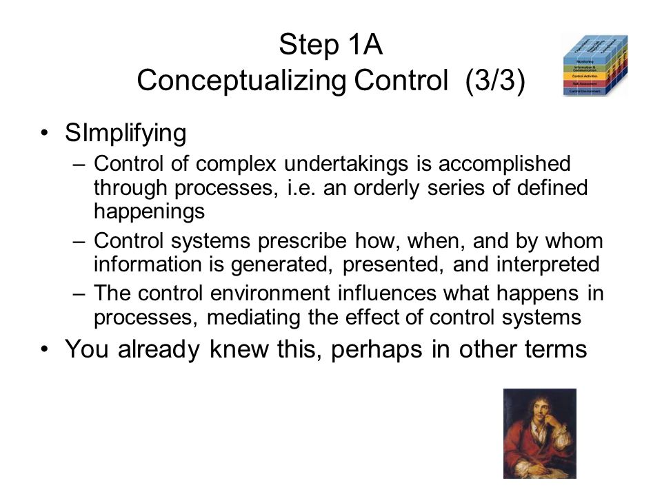 Step 1A Conceptualizing Control (3/3) SImplifying –Control of complex undertakings is accomplished through processes, i.e. an orderly series of define