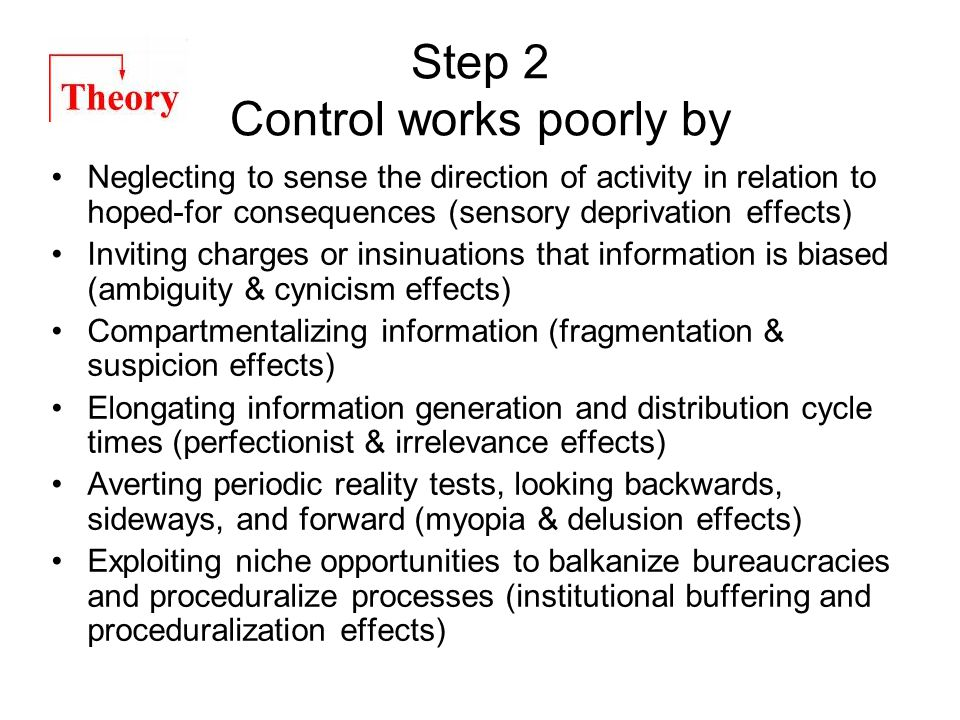 Step 2 Control works poorly by Neglecting to sense the direction of activity in relation to hoped-for consequences (sensory deprivation effects) Invit