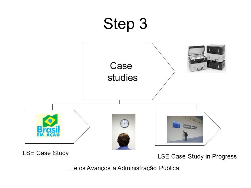 Step 3 Case studies....e os Avanços a Administração Pública LSE Case Study LSE Case Study in Progress