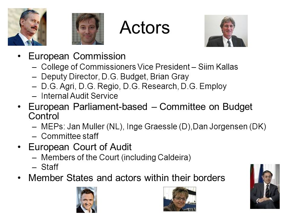 Actors European Commission –College of Commissioners Vice President – Siim Kallas –Deputy Director, D.G.