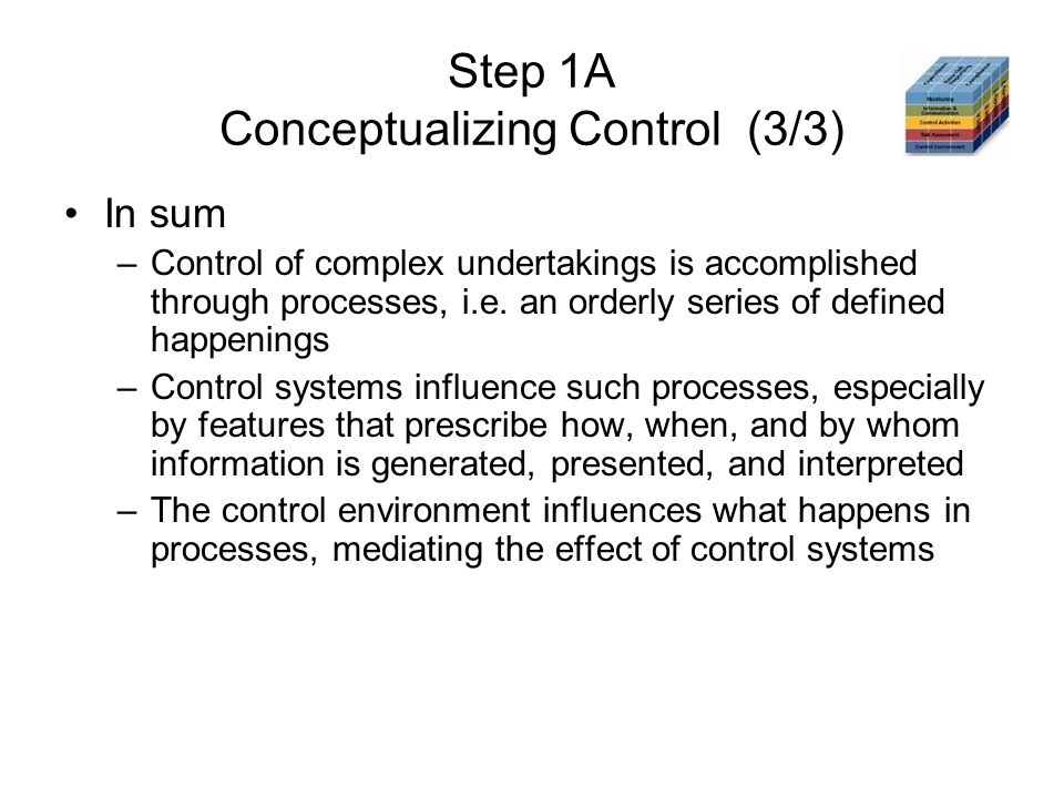 Step 1A Conceptualizing Control (3/3) In sum –Control of complex undertakings is accomplished through processes, i.e. an orderly series of defined hap