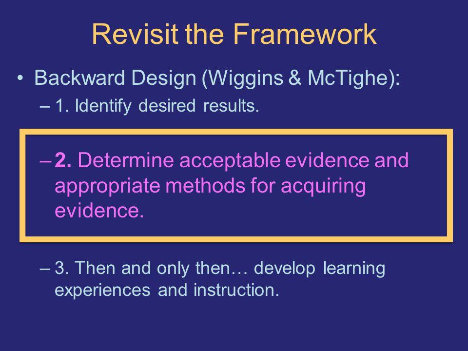 Revisit the Framework Backward Design (Wiggins & McTighe): –1.