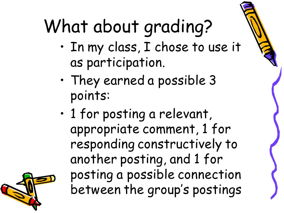 What about grading. In my class, I chose to use it as participation.