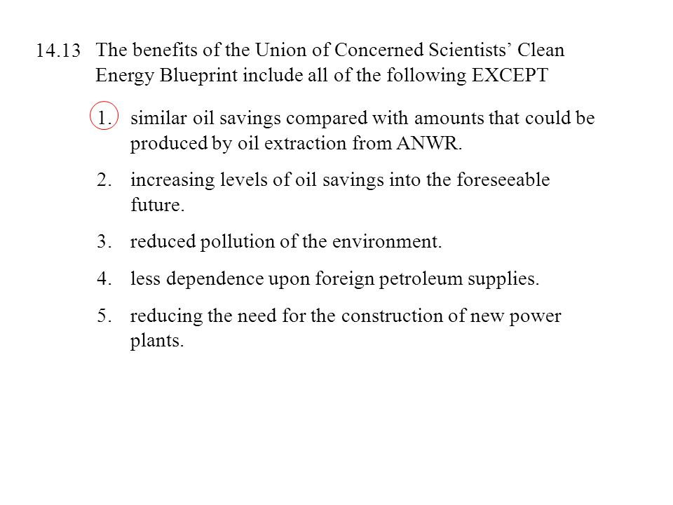The benefits of the Union of Concerned Scientists' Clean Energy Blueprint include all of the following EXCEPT 1.similar oil savings compared with amou