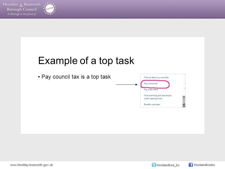 Example of a top task Pay council tax is a top task www.hinckley-bosworth.gov.uk hinckandbos_bc hinckandbosbc