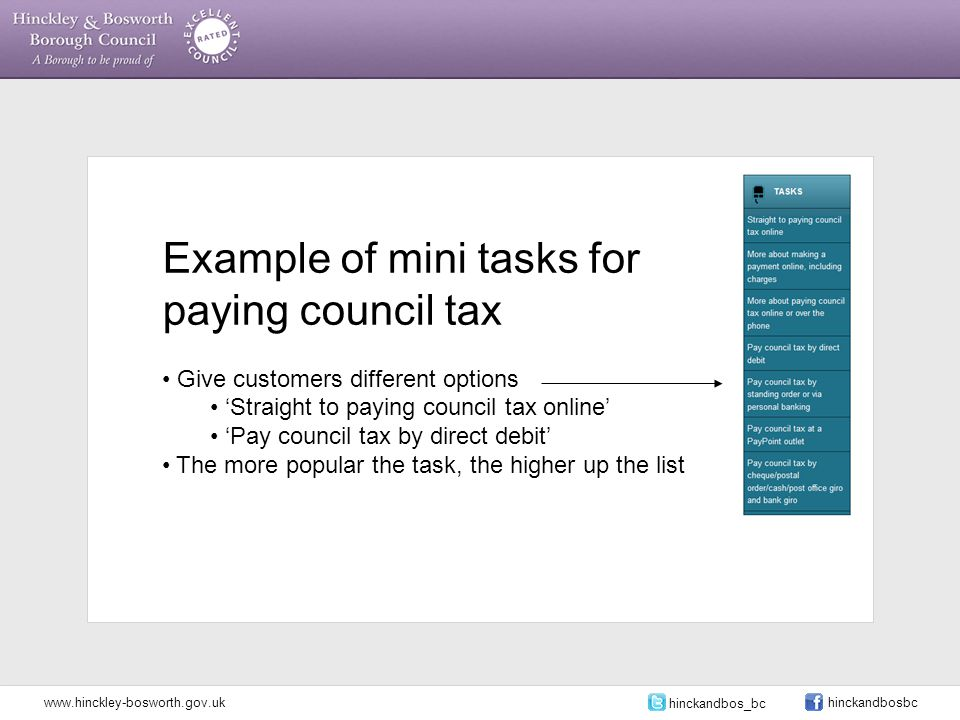 Example of mini tasks for paying council tax Give customers different options 'Straight to paying council tax online' 'Pay council tax by direct debit