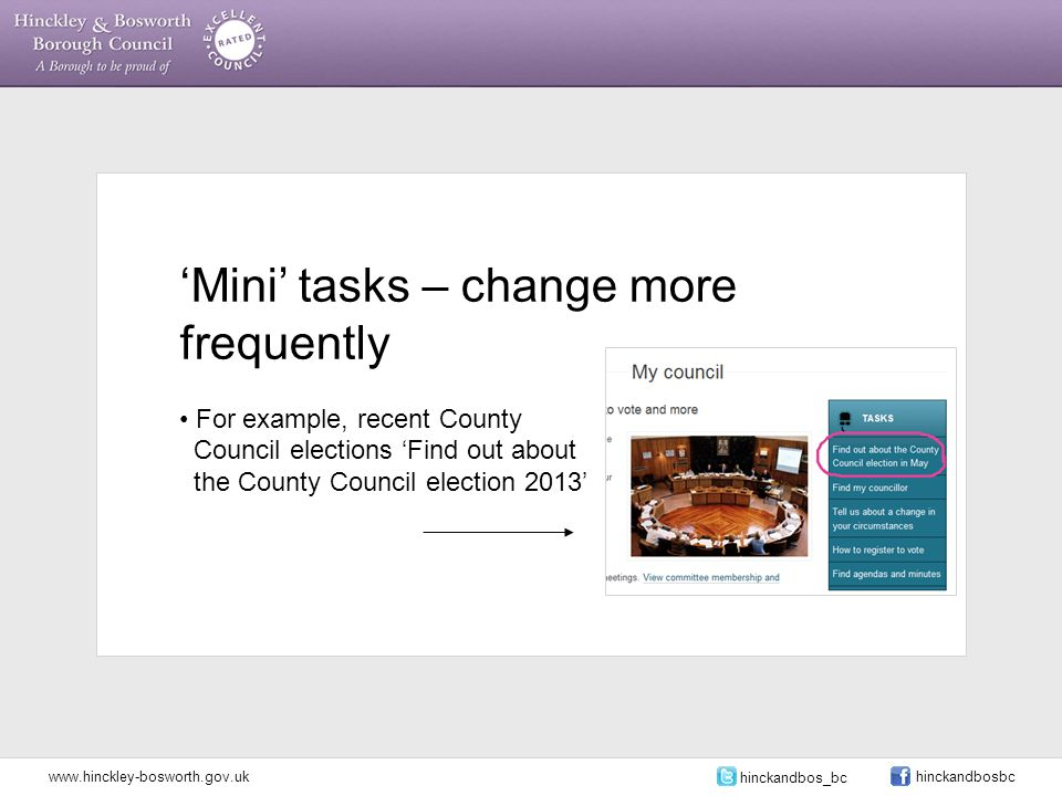 'Mini' tasks – change more frequently For example, recent County Council elections 'Find out about the County Council election 2013' www.hinckley-bosworth.gov.uk hinckandbos_bc hinckandbosbc
