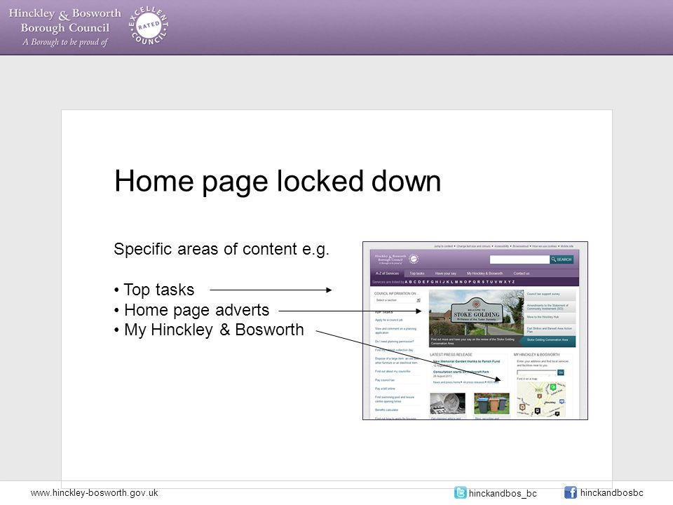 Home page locked down Specific areas of content e.g.