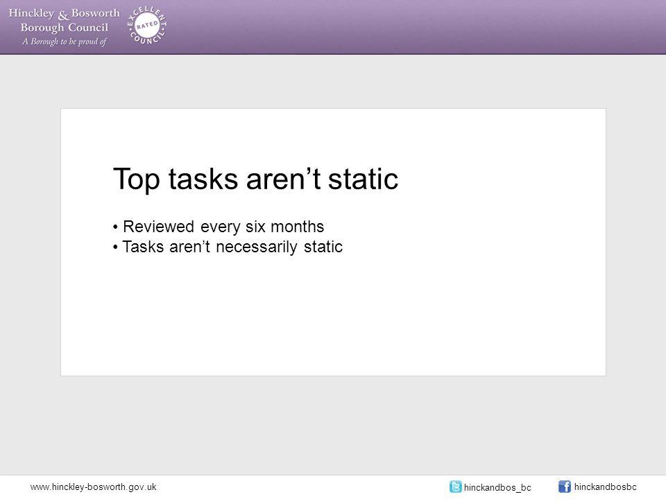 Top tasks aren't static Reviewed every six months Tasks aren't necessarily static www.hinckley-bosworth.gov.uk hinckandbos_bc hinckandbosbc