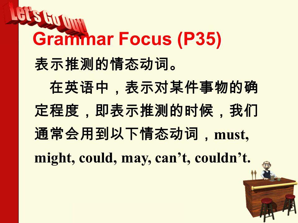 Grammar Focus (P35) 表示推测的情态动词。 在英语中,表示对某件事物的确 定程度,即表示推测的时候,我们 通常会用到以下情态动词, must, might, could, may, can't, couldn't.