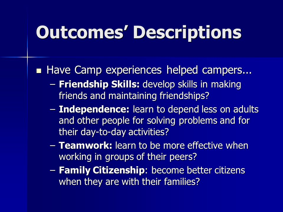 Outcomes' Descriptions Have Camp experiences helped campers...