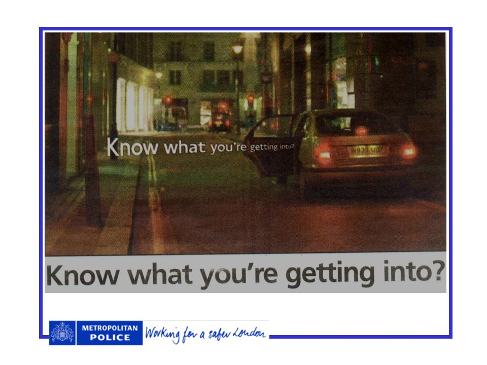 Going Places On the bus/tube/train - sit near driver or family groups. Be discrete with mobile phones etc. Try to travel with people you know. Use a p
