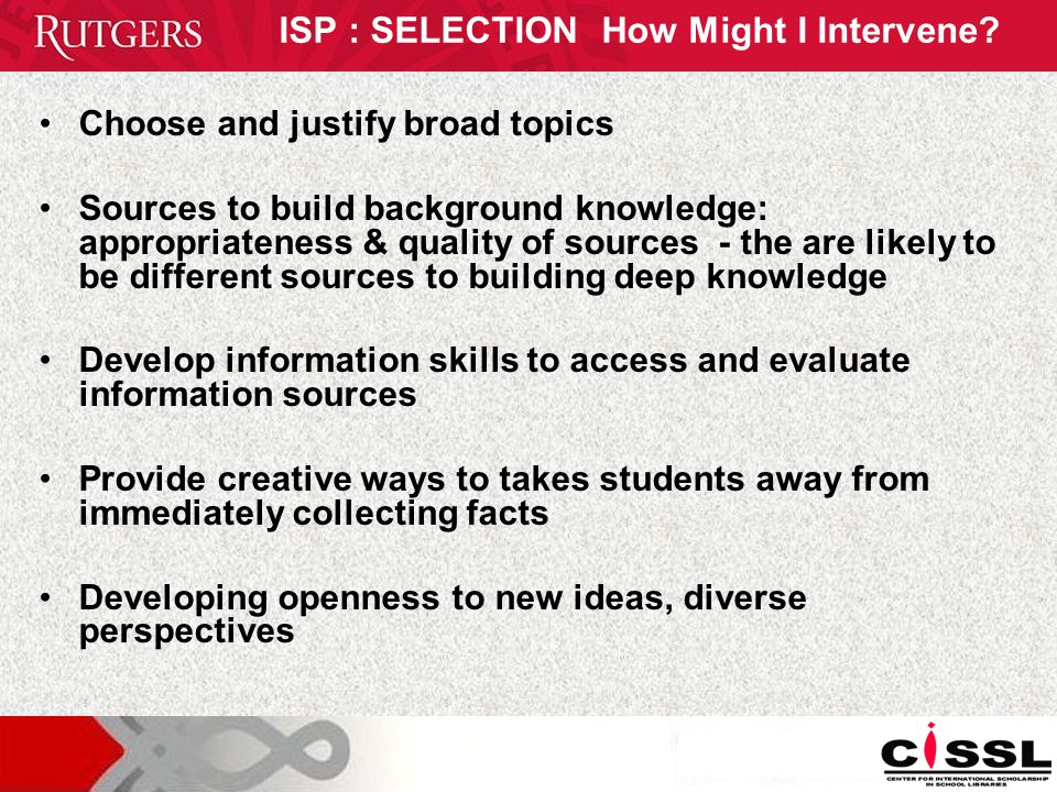 ISP : SELECTION How Might I Intervene.