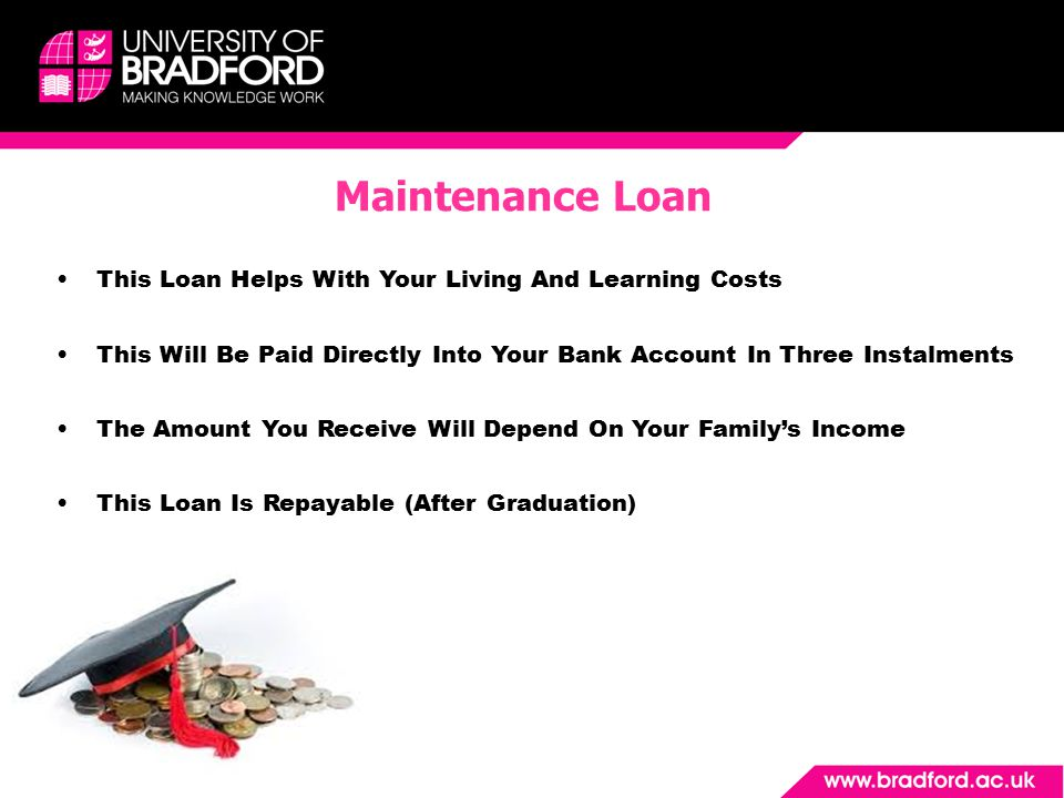 This Loan Helps With Your Living And Learning Costs This Will Be Paid Directly Into Your Bank Account In Three Instalments The Amount You Receive Will Depend On Your Family's Income This Loan Is Repayable (After Graduation) Maintenance Loan
