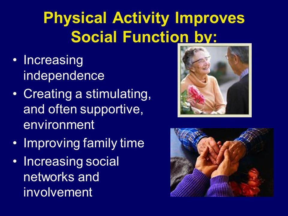 Physical Activity Improves Social Function by: Increasing independence Creating a stimulating, and often supportive, environment Improving family time Increasing social networks and involvement