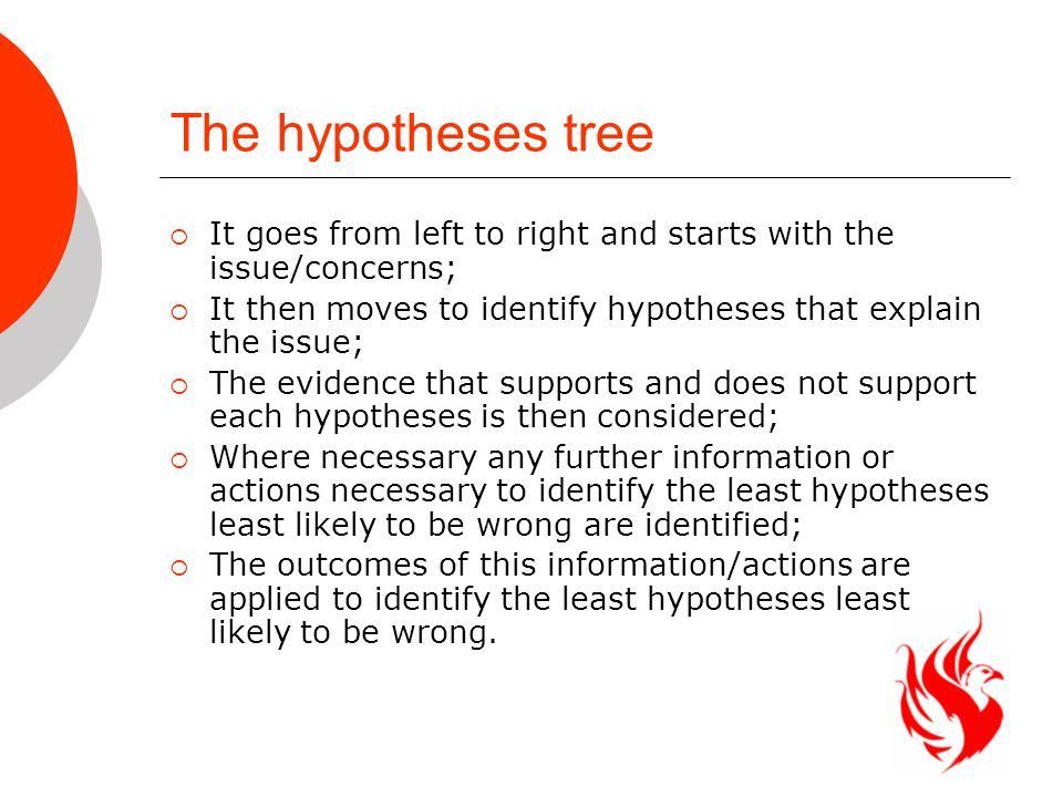 The hypotheses tree  It goes from left to right and starts with the issue/concerns;  It then moves to identify hypotheses that explain the issue;  The evidence that supports and does not support each hypotheses is then considered;  Where necessary any further information or actions necessary to identify the least hypotheses least likely to be wrong are identified;  The outcomes of this information/actions are applied to identify the least hypotheses least likely to be wrong.