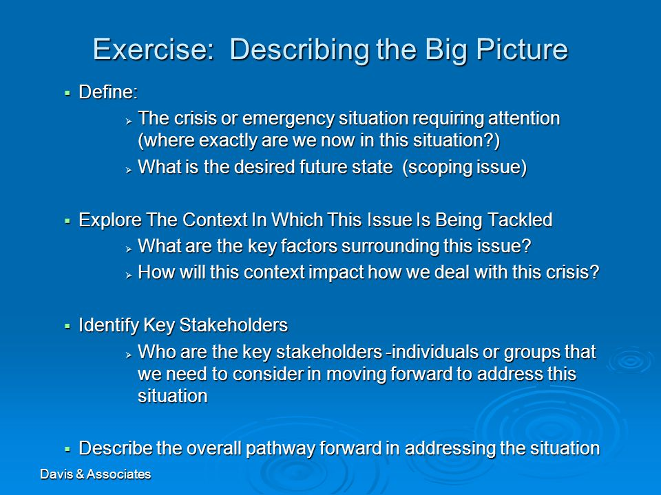 Davis & Associates Exercise: Describing the Big Picture  Define:  The crisis or emergency situation requiring attention (where exactly are we now in this situation?)  What is the desired future state (scoping issue)  Explore The Context In Which This Issue Is Being Tackled  What are the key factors surrounding this issue.