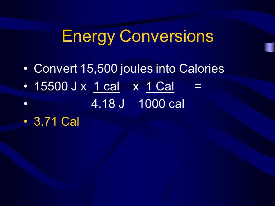 Formulas – Kinetic Energy Kinetic energy KE = ½ mv 2 KE = kinetic energy (joules) m = mass (must be in Kg) V = velocity (must be in m/s)